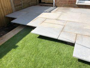Granite paving slab installation