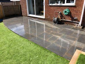 Granite paving installed