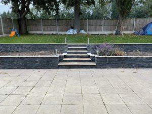 Widened garden steps